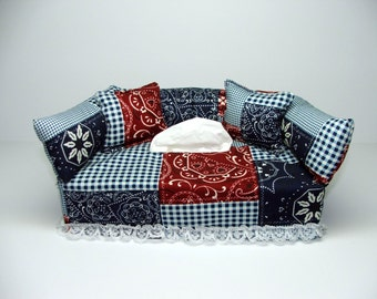 Calico Squares fabric tissue box cover.