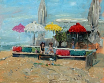 "oil painting, ""Strandtent in Kijkduin"", oil on panel, 24x30 cm, 9.5x11.8 inch"