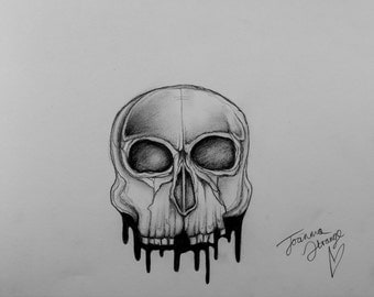 Dripping skull drawing art print by Joanna Strange