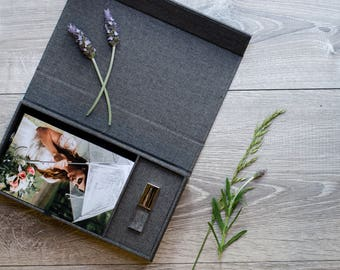 Charcoal Linen Photo Box with Crystal Glass USB Flash Drive