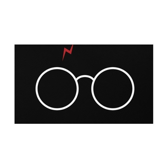 Black Harry Potter Glasses Rug by LaChicHomeDecor