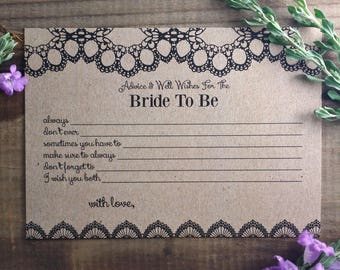 """PRINTED Bridal Shower Game Cards """"Advice & Well Wishes for the Bride-to-Be"""""""