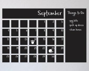 Chalkboard Calendar Decal / Chalkboard Calendar / Chalkboard wall decal / Chalkboard kitchen decal / Chalkboard Menu