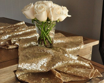 Champagne Gold Table Runner.  Ships in 2-3 Business Days.  Sequin Table Runner. Wedding Table Runner.