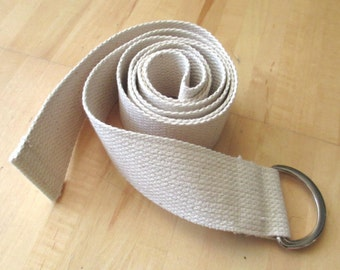 6ft Unbleached Cotton Yoga Strap with Metal D-rings, Fitness Exercise Stretch Strap