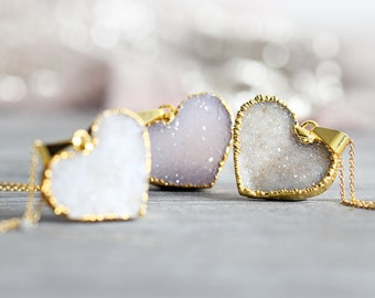 White Heart Necklace - Druzy Heart Pendant with Rough Diamond - Valentine's Day Gift - April Birthstone - Heart Jewellery - Gift For Wife