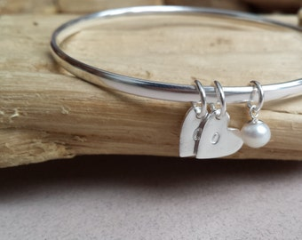 Sterling Silver bangle with fine silver personalised charms