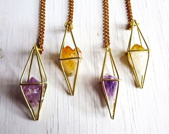 Amethyst Necklace, Geometric Necklace, Caged Crystal, Handmade Original, Rough Amethyst Crystal, Pendulum Necklace, Amethyst Pendant