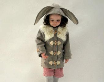 Easter Bunny coat JANUARY 2018 - pre order kids bunny duffle coat fluffy grey jacket toddler woodland spring rabbit costume