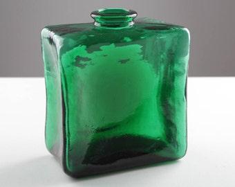 Quadrat Smaragd Grün Vintage Glasvase, Bundesrepublik Deutschland, Mitte der 70er Jahre