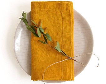 Set of 2 Mustard Stone Washed Linen Napkins