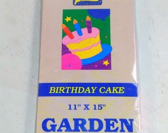 """Birthday Cake Garden Flag/11"""" Wide By 15"""" Long/Weather Resistant Fabric/ Can Be Hung On The Mailbox Or In A Window/New (N)"""