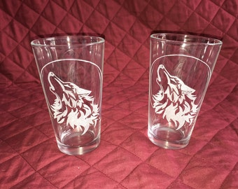 2 Hand Etched Wolf & Moon Pint Glasses!