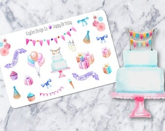 Happy Birthday Deco / Watercolor / Celebration / Tracking / Planner Stickers / Erin Condren / Kikki K / FiloFax / Mambi / Scrapbook