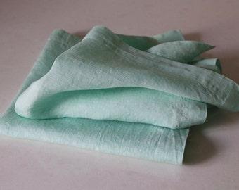 Linen Napkins (Set of 2)/ Mint Green Linen Napkins/ Cloth Napkins