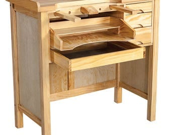 Jeweler's Work Bench - Solid Wood, Metal lined drawer - NO PARTICLE BOARD