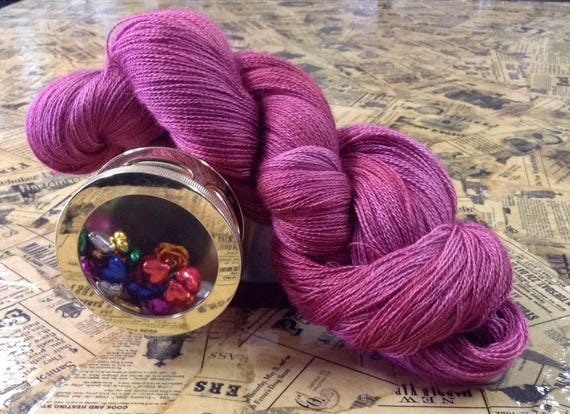 Hand dyed yarn, Mauvelicious, Merino, wool, lace yarn,made in Texas,made in the USA