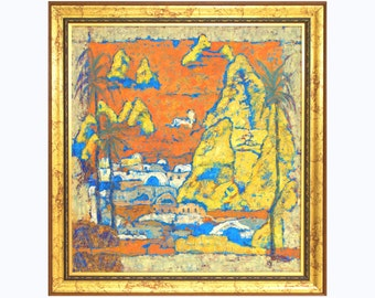 "Painting Print Impressionist Modern Wall Art Print Yellow Orange Landscape Painting Print of Original Art for Office, ""CAPPADOCIE, TURKEY"""