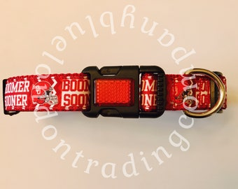 OU Boomer Sooner Adjustable Dog Collar~Oklahoma University~BoomerSooner~OU~SoonerDog~Boutique Dog Collars~Shabby Chic Dog~Dog Wear