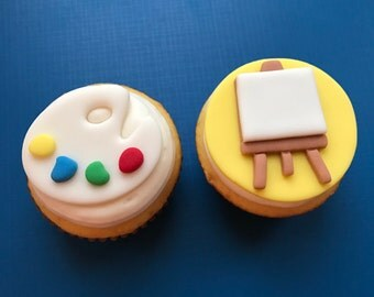 12 Paint Palette Cupcake Toppers-Fondant