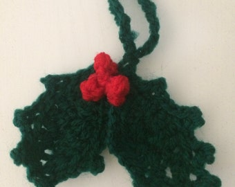 Crochet chrismas holly decoration (set of 3)