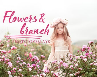 25 Flower and branch photo overlays, PNG overlays, photoshop overlay, tree overlays, flower overlay