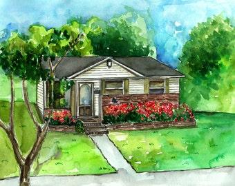 Watercolor house portrait, custom house painting, custom illustration, custom house illustration, printable custom art.