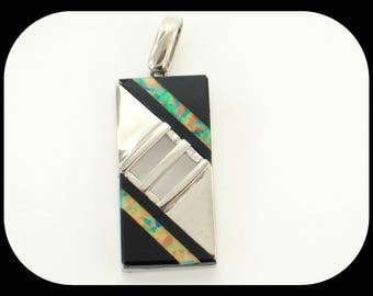 New Opal & Onyx Inlay 925 Sterling Silver Modern Design PENDANT