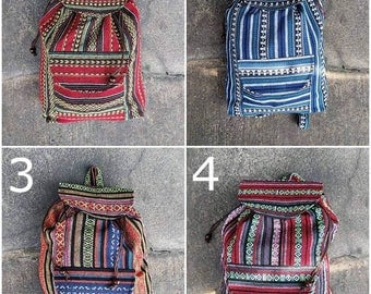 Handmade Hmong Fabric Hippie Boho Unique Backpack,Thai Ethnic Fabric