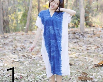 100% natural indigo handmade dress