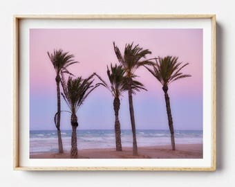 Palms Print, Palms Art, Alicante Print, Spain Photography, Sunset Art, Beach Art, Beach Decor, Modern Coastal, Beach Print, Coastal Photo