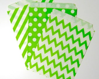 Lolly bags 25 50 pieces green and white loot treat bags for gift birthday party, wedding, baby shower favours