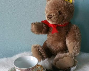 Adorable STEIFF caramel brown bear! Collectible vintage plush toy 1980s