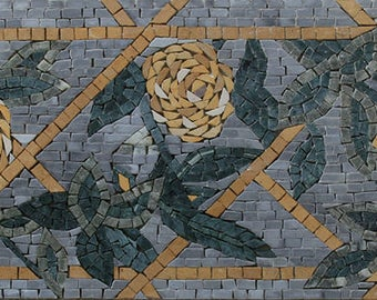 Handmade Wild Rose Yellow Flower Listello Art Design Marble Mosaic BD259