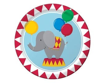 Circus Party, Paper Plates, Party Plates, Carnival Party, Circus Birthday, Carnival Birthday, First Birthday, Under the Big Top, Birthday