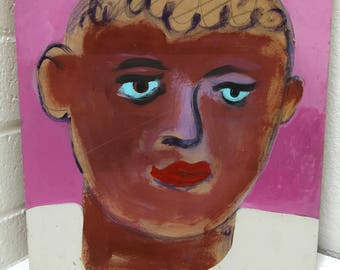 Blue Eyed Brown Boy folk Art Outsider Pop Art