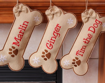Dog stocking, Bone Stocking for Dog,personalized stocking,custom name, Burlap Pet Stocking, Christmas stocking for dog, Paw Print, Snowflake