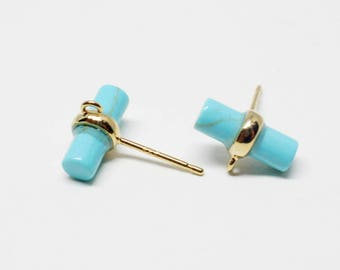 E0137/Anti-Tarnished Gold Plating Over Brass+Turquoise/Cylinder Glass Stud Earring/11X16mm/2pcs