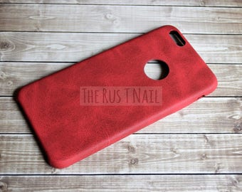 FREE SHIPPING - Red iPhone 6s Plus Ultra Slim Leather Case