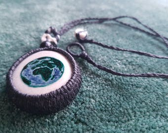 Double sided necklace, globe painted on stone