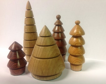 Five hand turned wooden Christmas trees