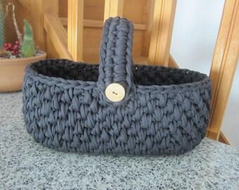 Black yarn basket, home storage, home yarn organizer, big basket, home housewares, home gift, knitted basket, zpagetti basket, black oval