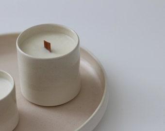 Bougie parfumée naturelle céramique & mèche en bois XL