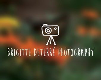 Premade Logo Photographer Photography logo camera tripod cute style customize personalize editable choose font change colors line art simple