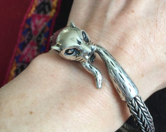 Andean Jaguar Silver Bracelet