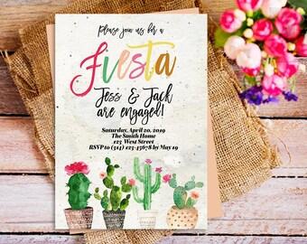 Fiesta party engagement invitation, fiesta theme engagement invite, we are engaged invitation, fiesta cactus invite, cactus party engagement
