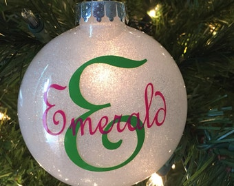 Personalized Ornament. Christmas Ornament. Name Ornament. Glitter Ornament. Custom Shatterproof Ornament. Christmas Ornaments