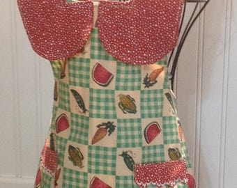 Mother daughter apron, Vintage style - daughter full apron - vintage vegetable print - tan background  - burgundy collar - cross back ties