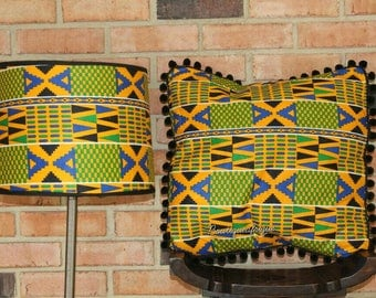 Lamp- Lamp shade- Lampshade- African Lamp shade- African print Lamp- Lamp Shade Durm- Table Lamp shade- Decorative Pillows- For Couch- Throw