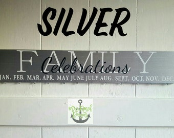 Family Celebration Board, Family Birthdays, Family Birthday Calendar, Family Celebration Sign, Perpetual Calendar, Wood Calendar